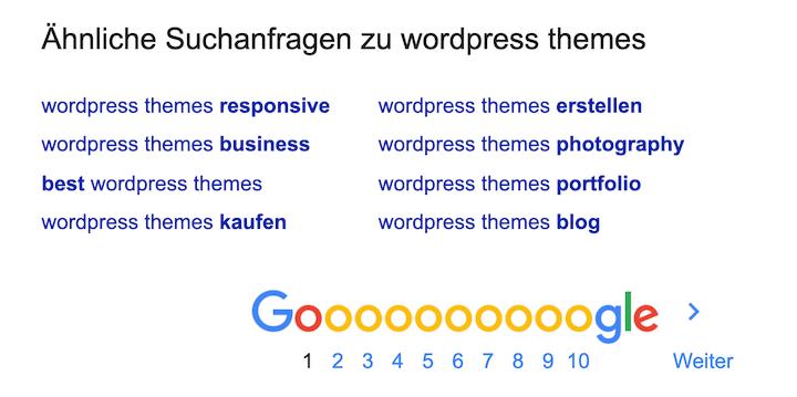 Keyword Recherche Tool Google Suggest - Auch am Ende einer Suchergebnisseite (SERP)