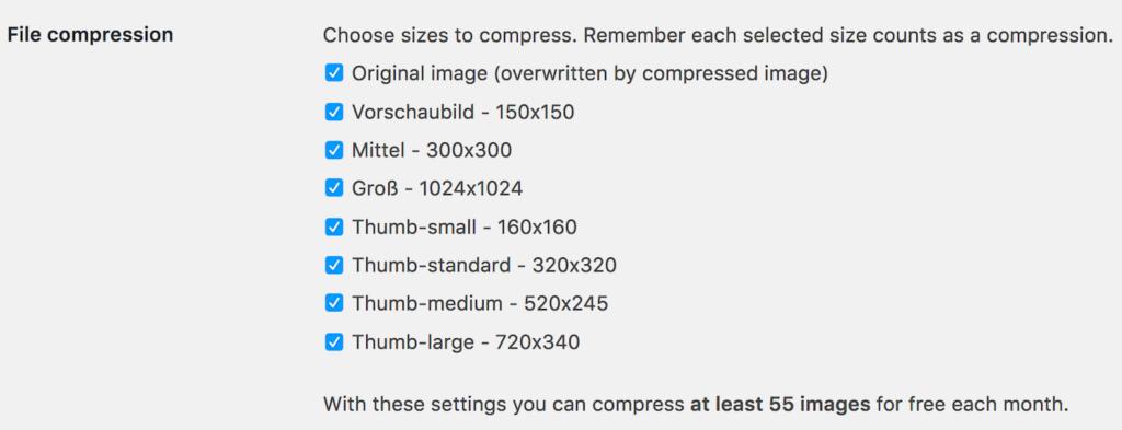 Tinypng nur knapp 55 Bilder pro Monat