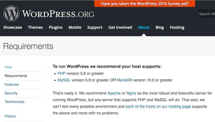 WordPress Mindest-Anforderungen