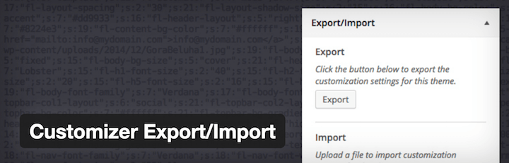 WordPress Plugin Customizer Export Import