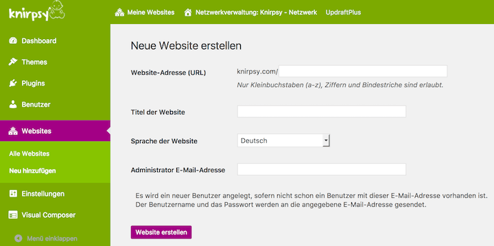 WordPress Multisite neue Website anlegen