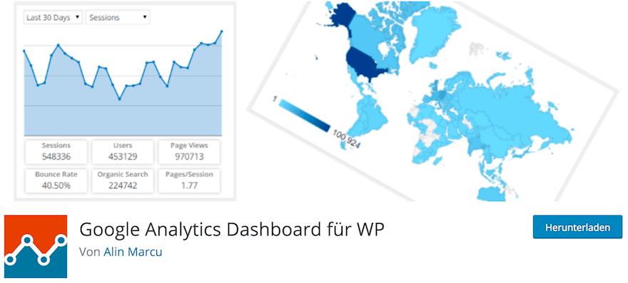 Integration von Google Analytics mit WordPress Plugin Google Analytics Dashboard für WP
