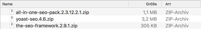 WordPress Plugins SEO Vergleich Dateigrößen