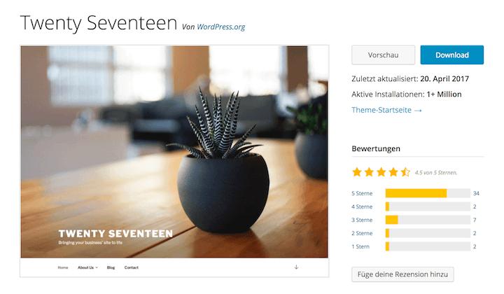 Twenty Seventeen - Wunderschönes WordPress Default Theme