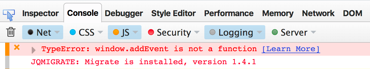 "Fehlermeldung ""window addEvent is not a function"" in der Firefox Console Reiter ""JS"""