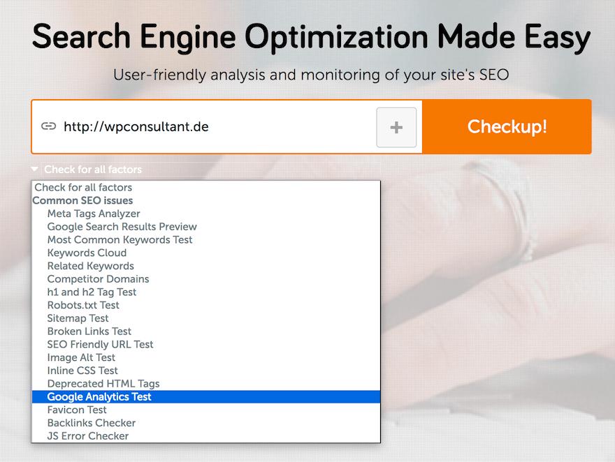 Google Analytics Integration mit SEO SiteCheckup überprüfen
