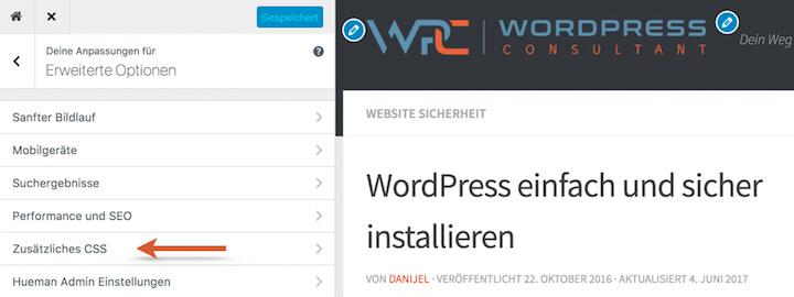 WordPress Child Theme oder zusätzliches CSS im Customizer