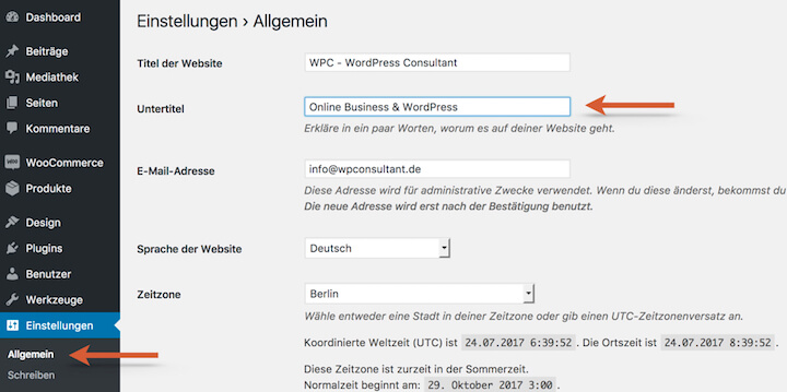 WordPress Website Beschreibung anpassen