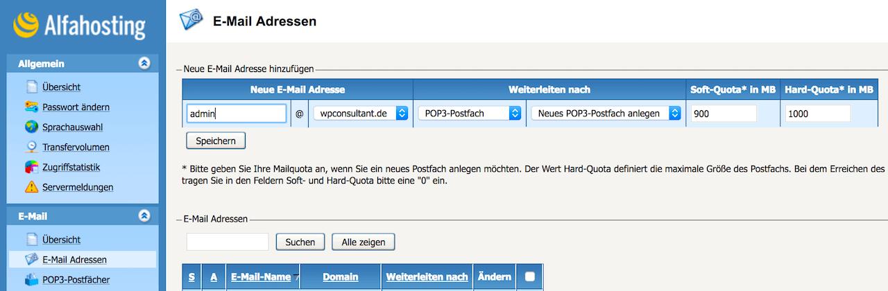 Admin E-Mail Adresse anlegen bei Alfahosting für die SSL-Zertifikat Bestellung