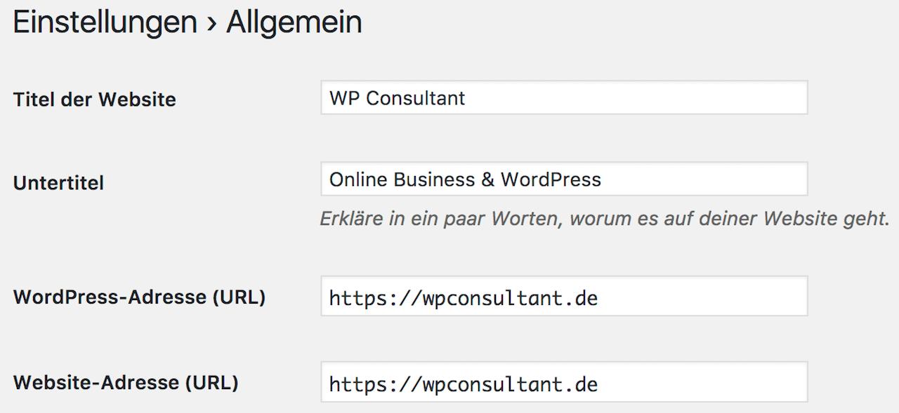 WordPress Website URL ändern