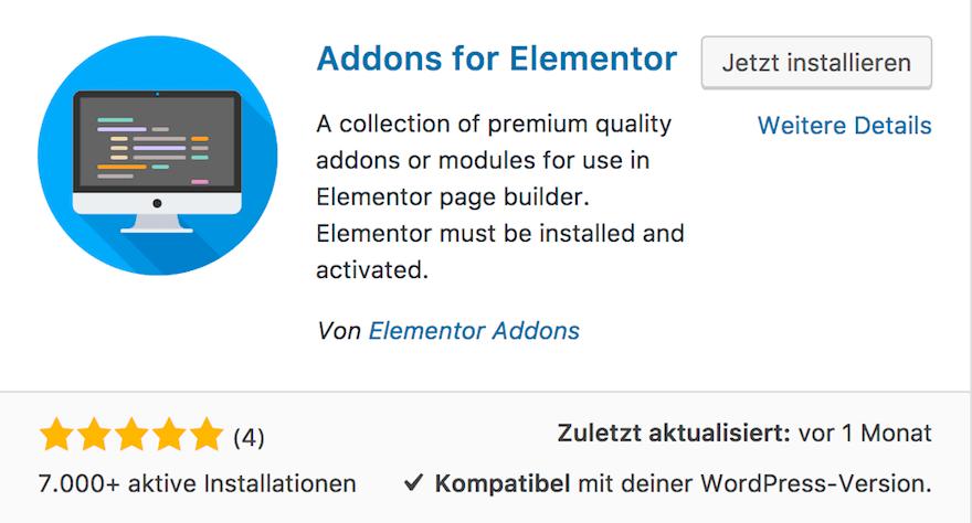 Addons for Elementor - Viele weitere kostenlose Addons für Elementor