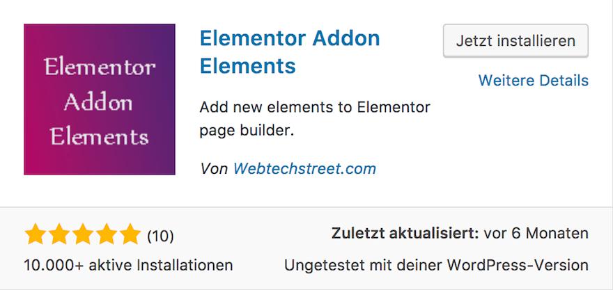Elementor Addon Elements von Webtechstreet.com