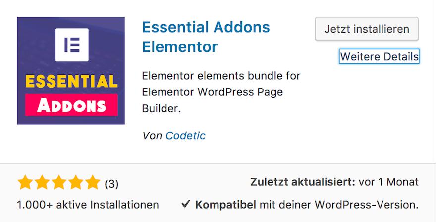 Essential Addons Elementor - Wichtige Addons für Elementor Page Builder