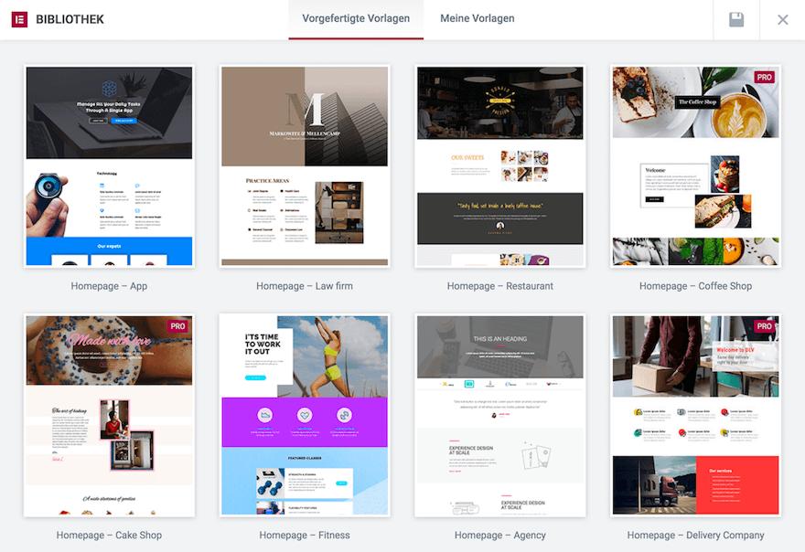 Elementor Templates - Wunderschöne Website Vorlagen können mit einem Klick importiert werden