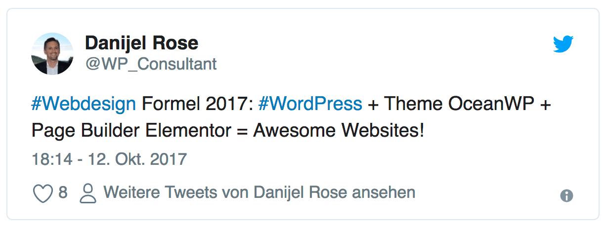 Webdesign Formel 2017 & 2018: WordPress + Theme OceanWP + Page Builder Elementor = Awesome Websites!