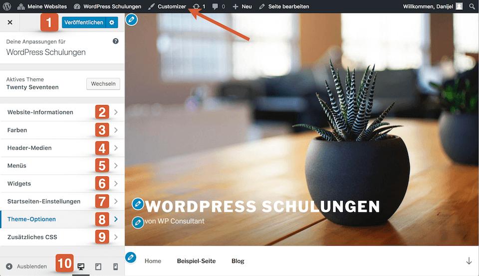 WordPress Theme anpassen mit dem Theme Customizer