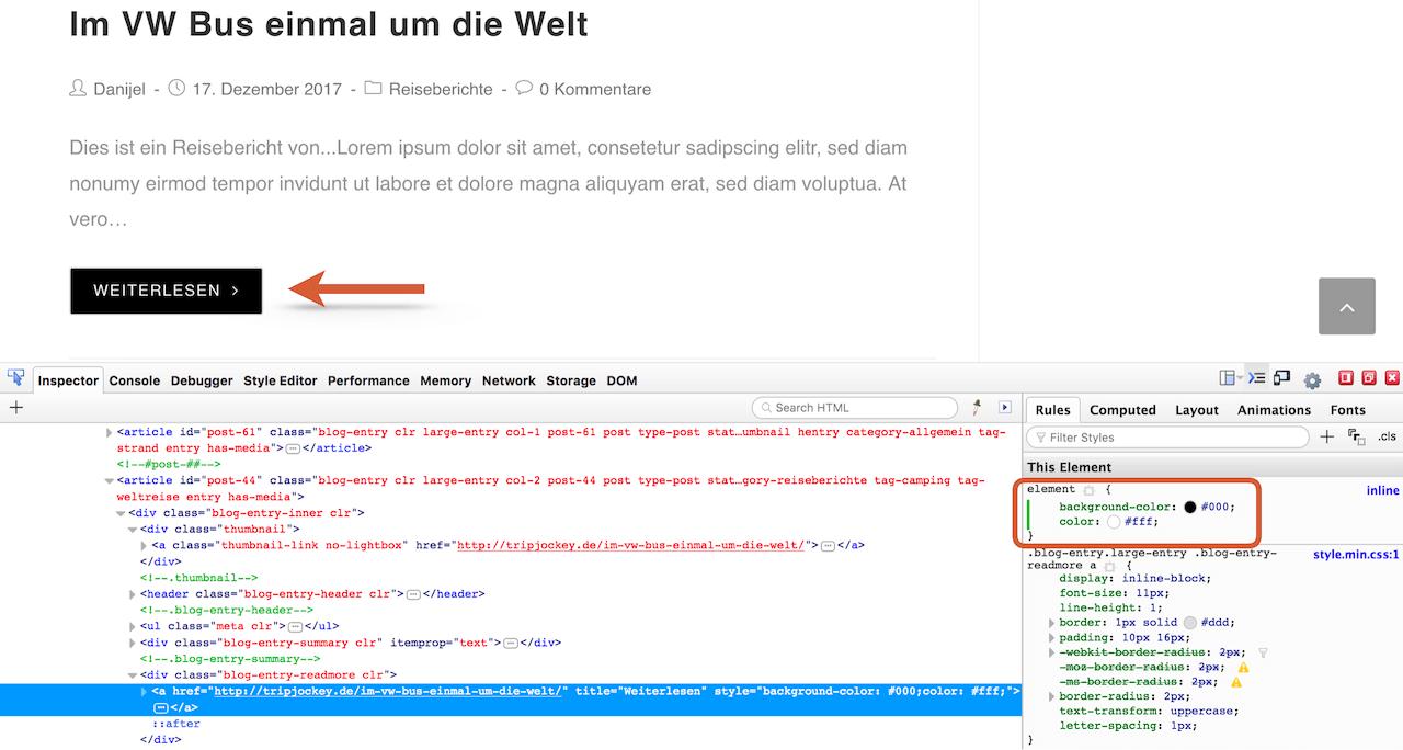 CSS Code in Browser Entwicklertools testen