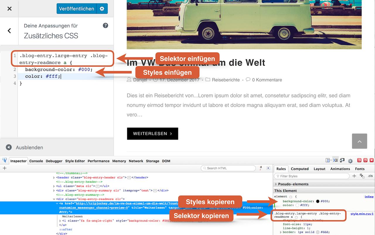 """WordPress Theme anpassen mit eigenem CSS in der Customizer Option """"zusätzliches CSS"""""""