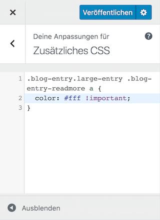 Eigenes CSS im Customizer funktioniert nicht - !important Deklaration verwenden