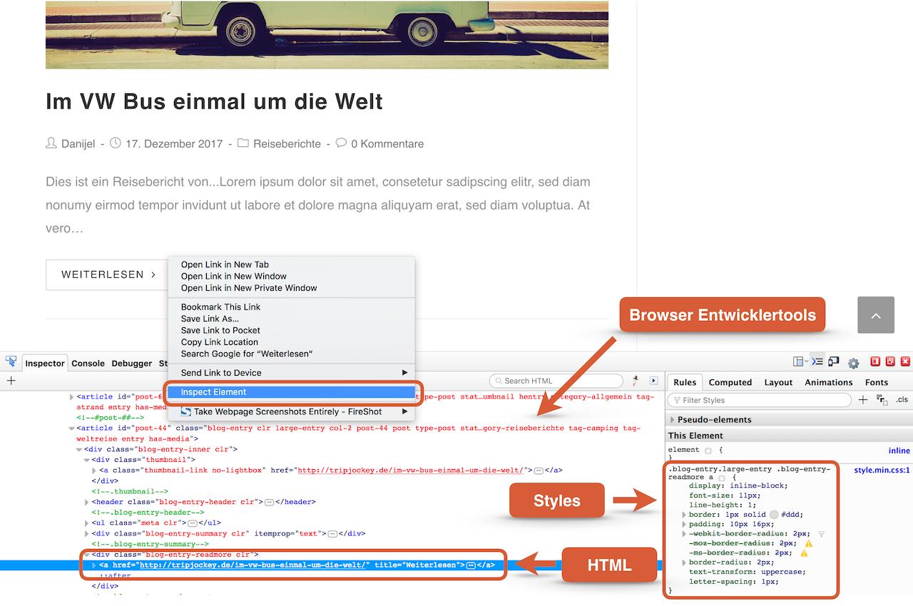 WordPress Theme anpassen - Schritt 1: Elemente untersuchen mit Browser Entwicklertools