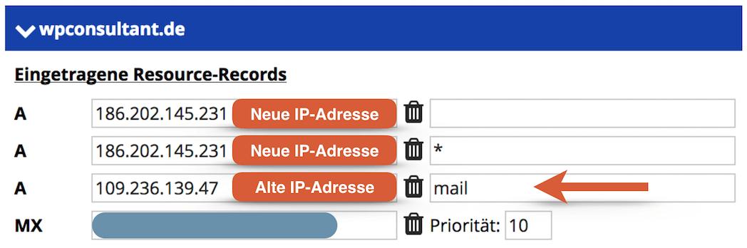 HostPress DNS Einstellung - Zusätzlicher A record für die E-Mails erforderlich