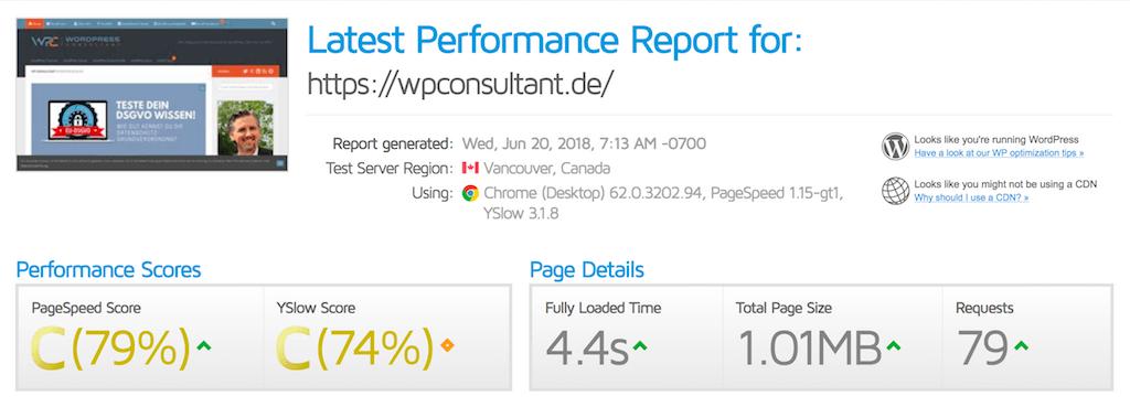Performance Ist-Zustand von WPConsultant vor der Optimierung mit WP Rocket Plugin