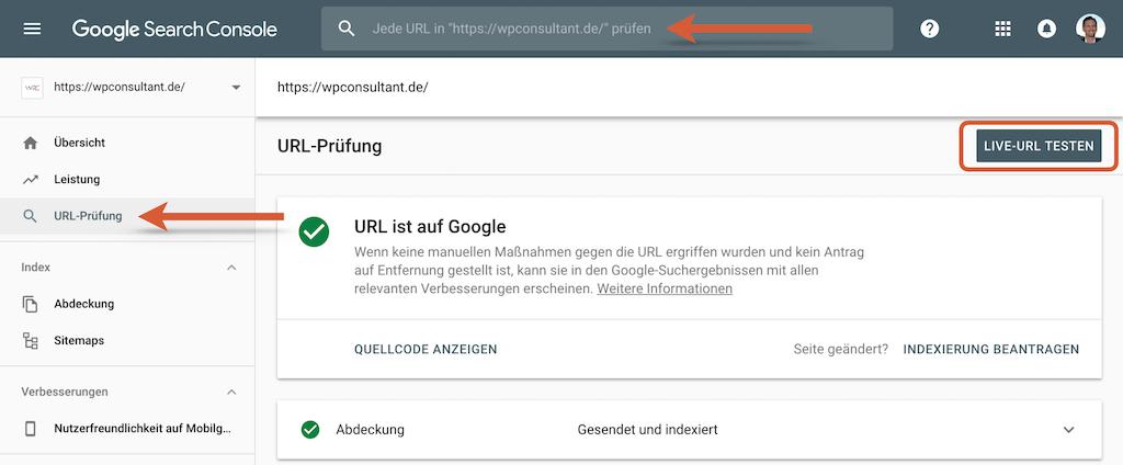 Google Search Console - Indexierung überprüfen und live testen