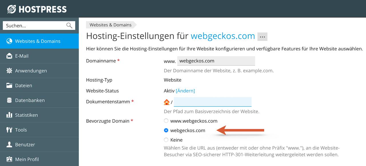 SEO Einstellung - Website mit oder ohne www an Beispiel von HostPress