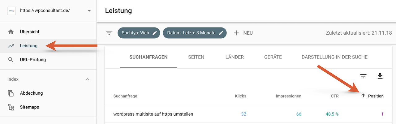 Keyword Analyse in der Google Search Console