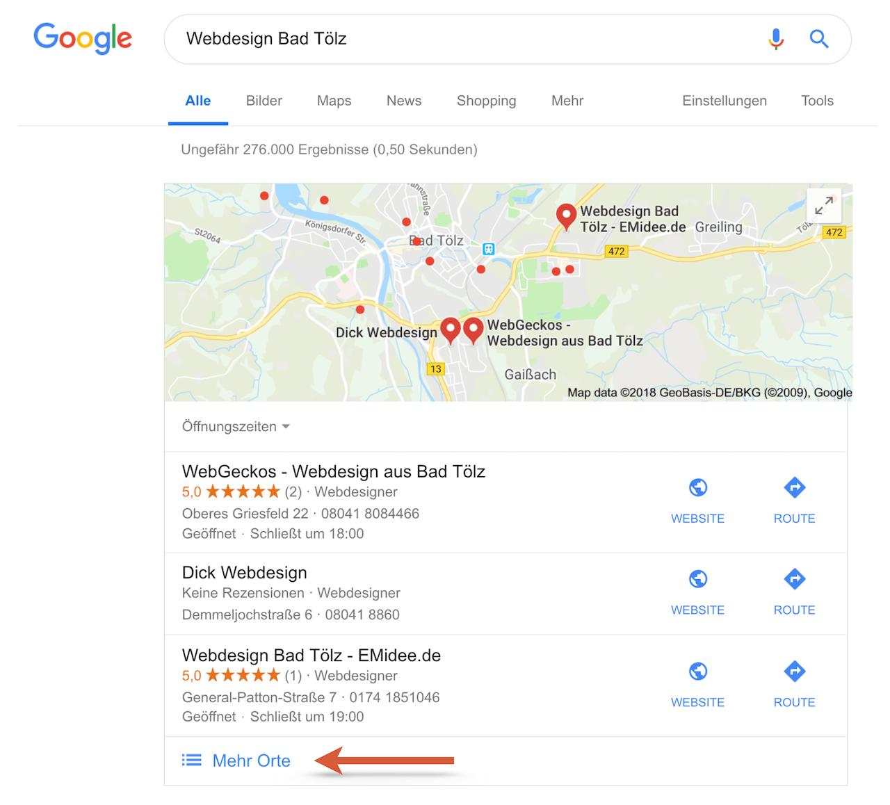 Local 3-Pack bei Google - Top 3 Ergebnisse in der lokalen Suche