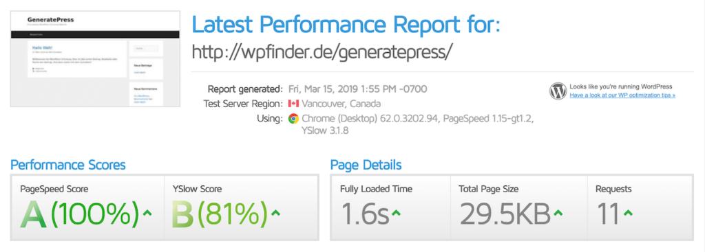 Elementor Theme GeneratePress super Performance