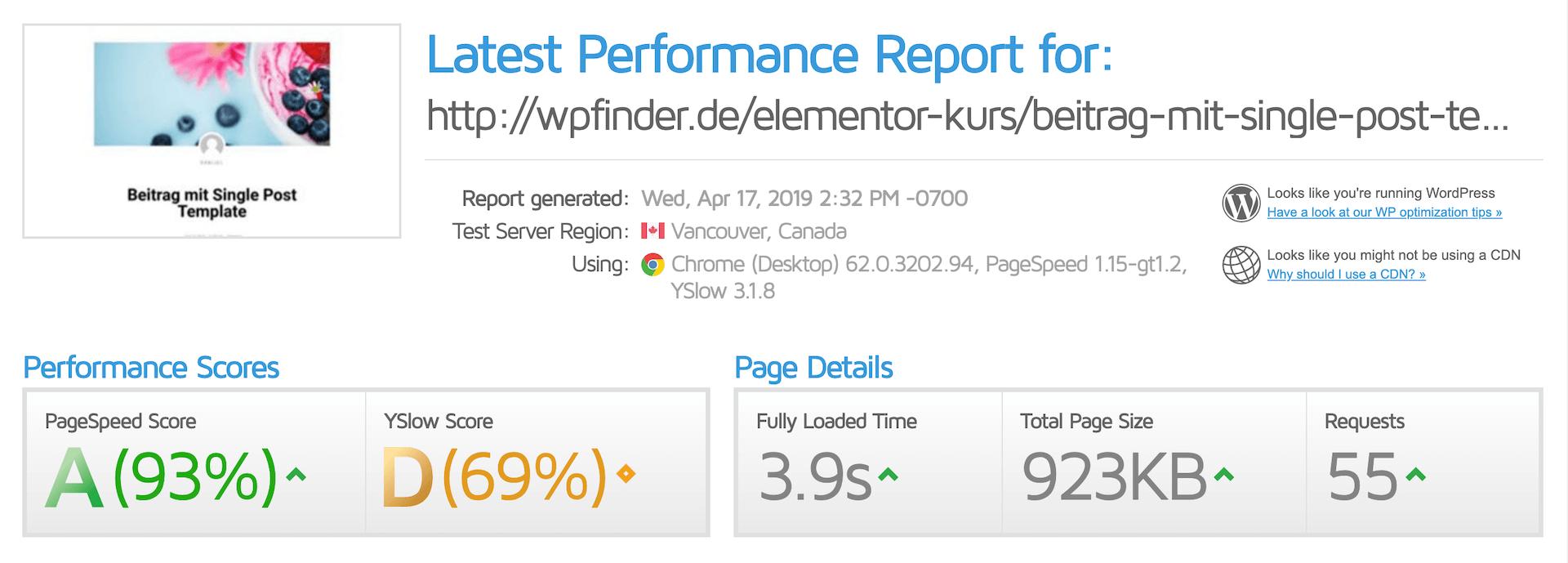 Performance Verlust durch Verwendung von Elementor Templates
