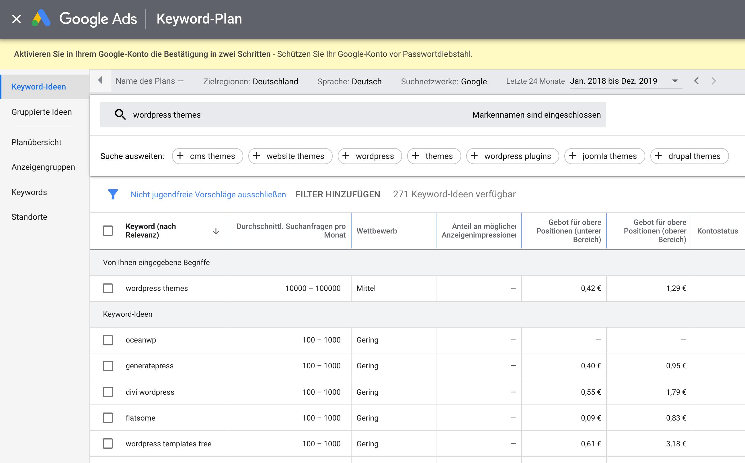 Kostenlose Keyword Recherche mit dem Google Keyword Planer