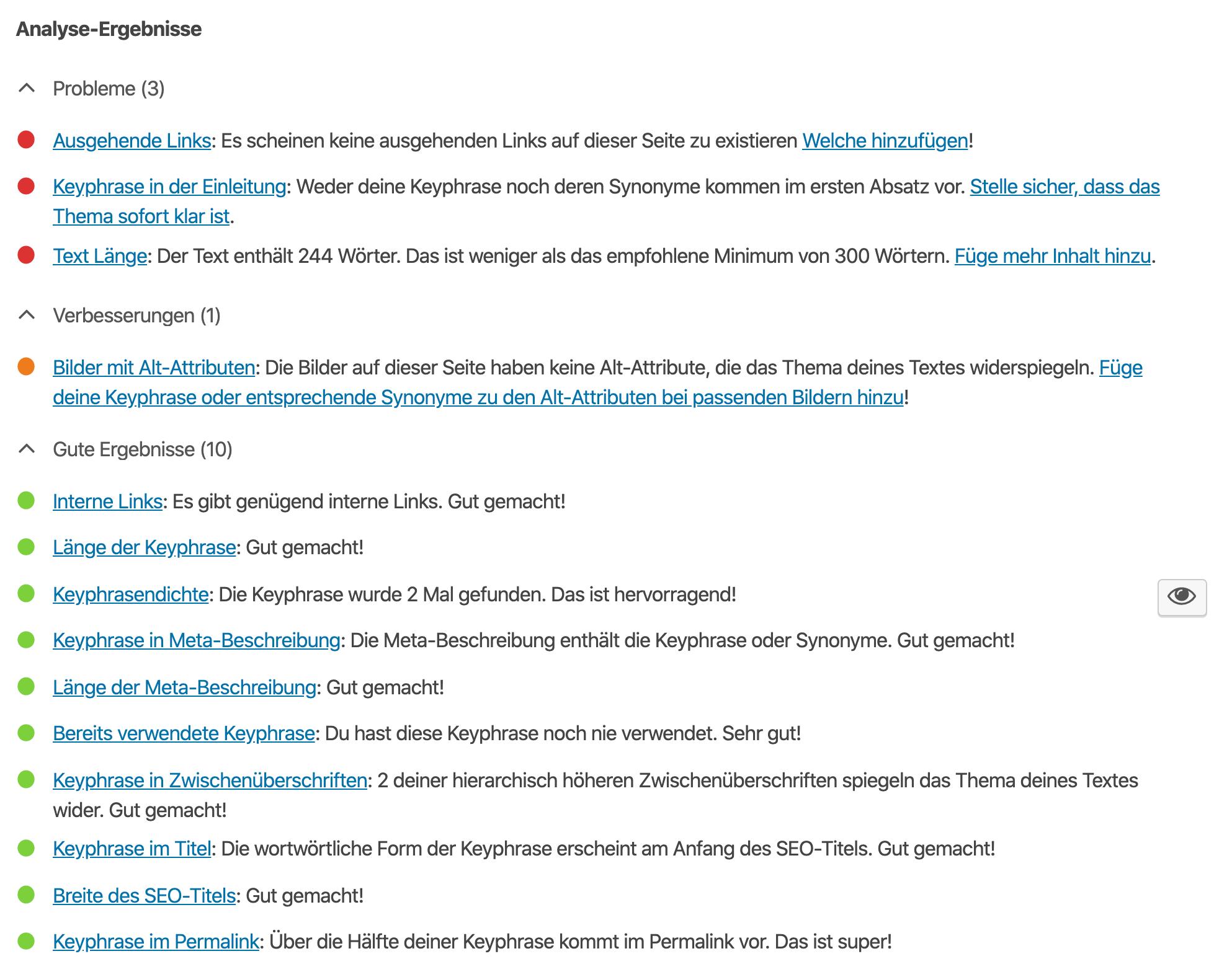 SEO Hilfe durch Yoast SEO Plugin - Analyse und Optimierungsvorschläge für deine Inhalte